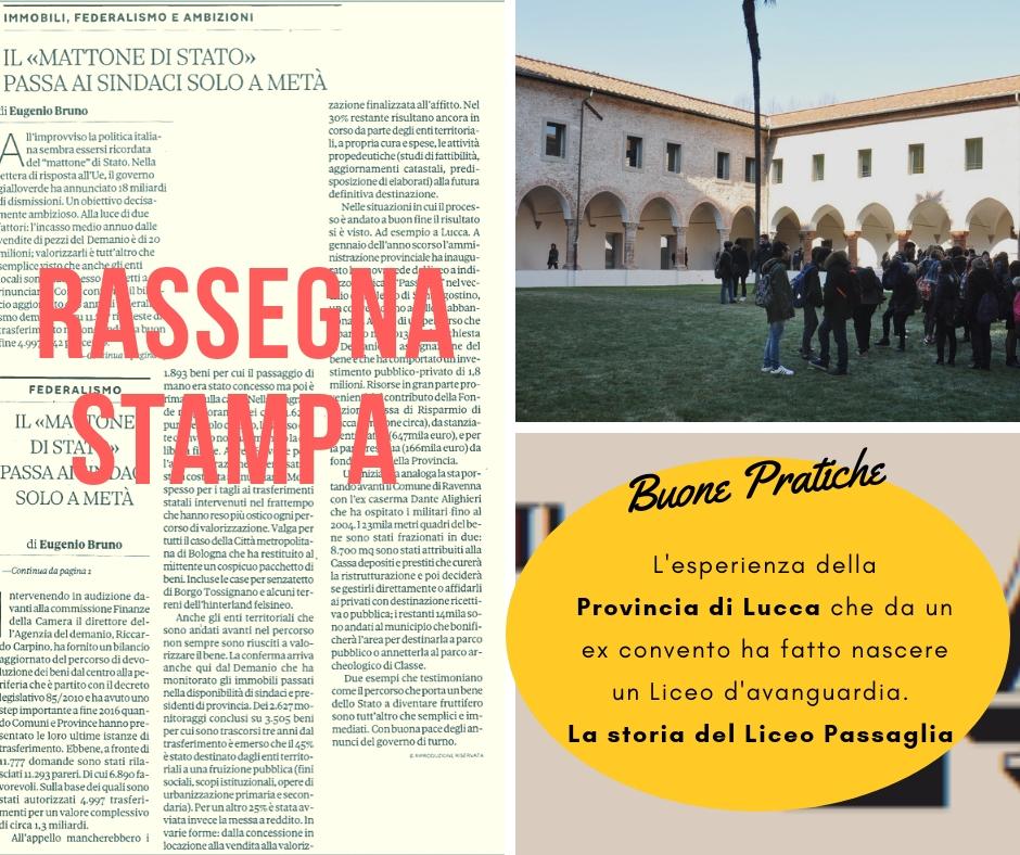Federalismo demaniale: Il Sole 24 Ore racconta le buona pratiche della Provincia di Lucca e del Comune di Ravenna