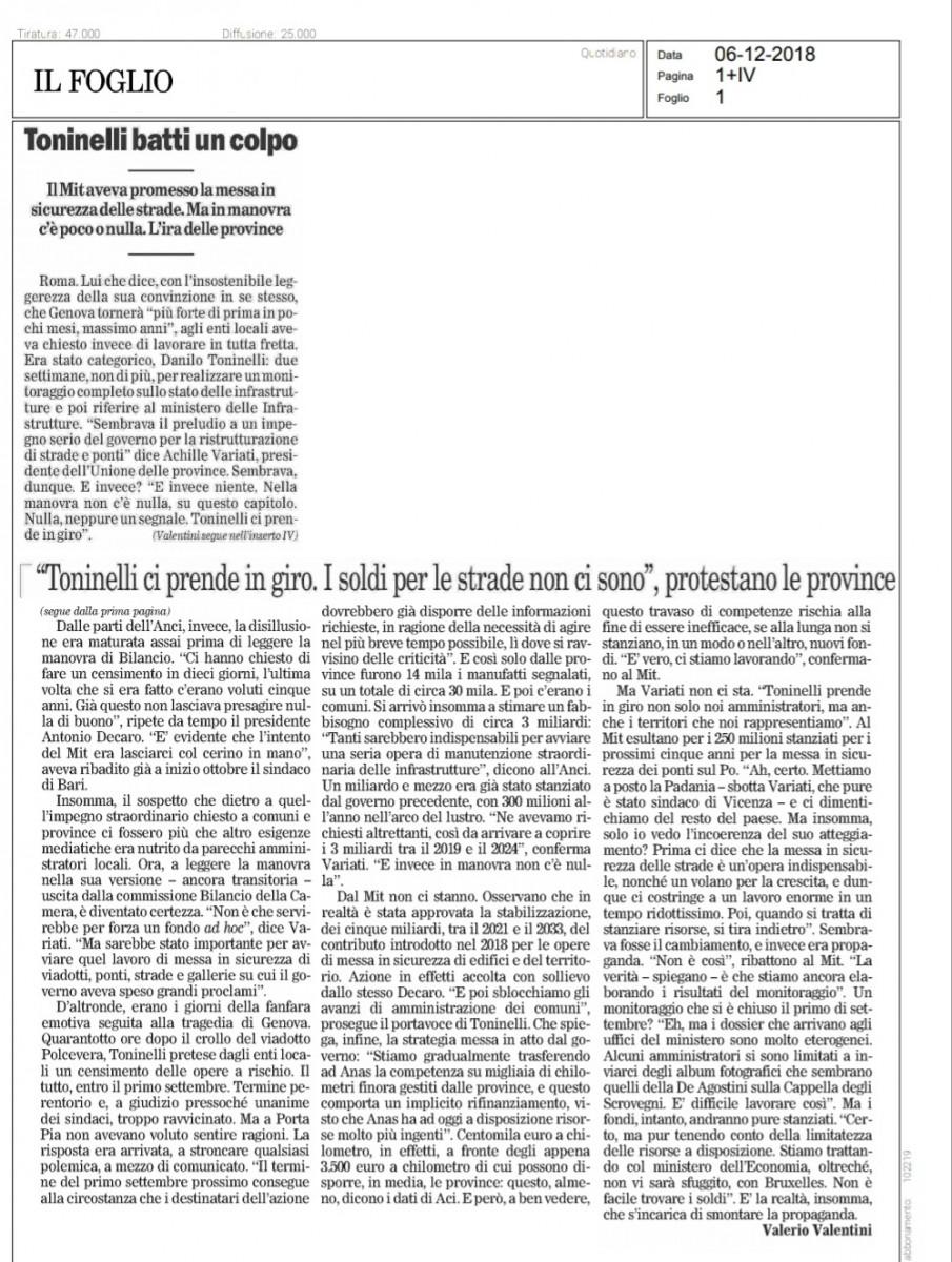 """Manovra: il Presidente Variati a Il Foglio """"Su sicurezza strade in manovra c'è poco o nulla"""""""