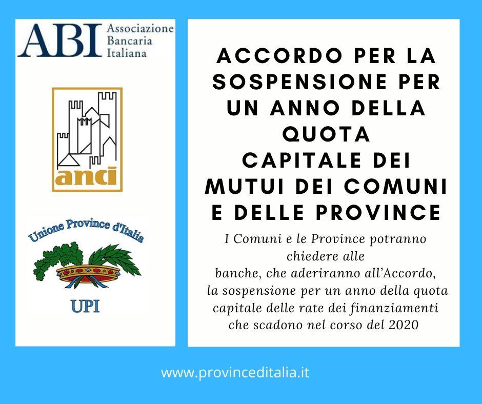 Mutui Province Comuni: sottoscritto accordo ABI ANCI UPI