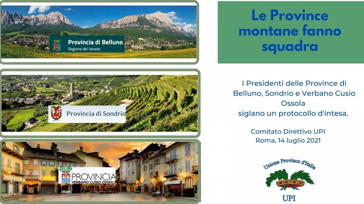 UPI: nasce il coordinamento delle Province interamente montane. Firmato il protocollo d'intesa tra Belluno, Sondrio e Verbano Cusio Ossola