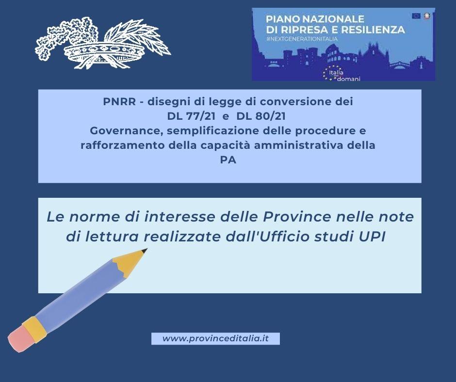 PNRR: Le note di lettura dell'Ufficio studi UPI su ddl di conversione dei decreti Governance e assunzioni